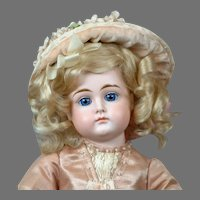 """Adorable 16.5"""" Closed-Mouth Kestner in Beautiful Antique Dress"""