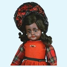 "Rare 16.5"" Black Simon & Halbig 739 in Antique Red Costume circa 1890"