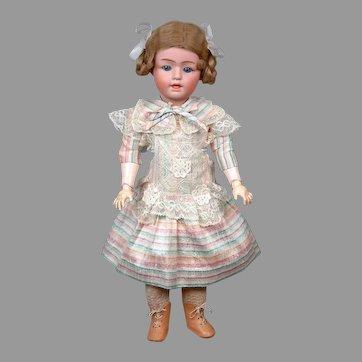 "Fabulous Super Rare 18"" Gebruder Heubach 7550 in Striped Dress"