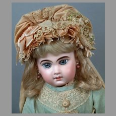 "19.5"" Size 10 Depose E 9  J Jumeau Bebe in Superb Blue  Silk & Lace w/Original Wig & Shoes"