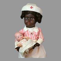 "17"" Black Gebruder Kuhnlenz Nurse in Candy Striper Uniform"