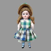 "Sweet 8"" All-Bisque Kestner 150 in Checked Dress"