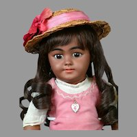 "18"" Super Cute Black Simon & Halbig 1009 All Antique Doll-Superb!"