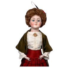 "19"" Iconic Kestner Gibson Girl in Antique Costume & Wig"