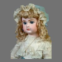 """23"""" All Antique Steiner Bebe with Lever Sleep Eyes in Lacy White Original Dress"""