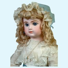 "23"" All Antique Steiner Bebe with Lever Sleep Eyes in Lacy White Original Dress"