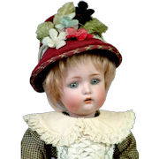 """13"""" Simon & Halbig 1299 Character Child with Original Wig -- Those Dimples!"""