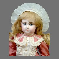 """Gorgeous 20"""" Closed-Mouth Antique Tete Jumeau French Doll in Rose Silk Frock"""