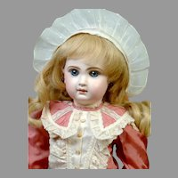 "Gorgeous 20"" Closed-Mouth Antique Tete Jumeau French Doll in Rose Silk Frock"