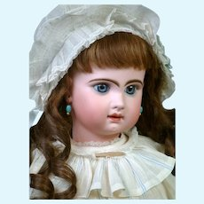 "Darling 24"" Tete Jumeau Bebe in Original White and Blue Dress and Shoes"