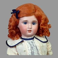 """Adorable 20"""" SFBJ Bebe Jumeau in White and Navy Frock"""