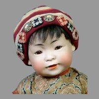 """Adorable 16"""" Kestner 243 Oriental Baby in Factory Shirt"""