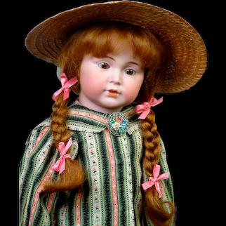 "Adorable Rare 19.5"" Simon & Halbig 120 Character in Striped Dress"