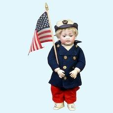 """Darling Rare 11.5"""" Kley & Hahn 160 Toddler in Sailor Peacoat"""