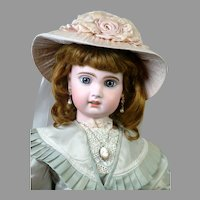 """Gorgeous 23.5"""" Size 10 French Jumeau Bebe Doll with Original French Leather Shoes"""