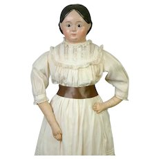 """Lovely Large 33"""" Papier Mache Doll on Cloth Body"""