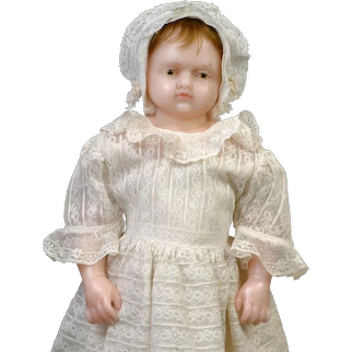 """Lovely 16.5"""" All Original Wax Baby Doll in Lace Dress"""