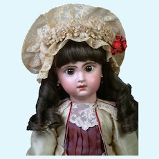 """Gorgeous 19"""" Closed-Mouth Jumeau Bebe in Burgundy Frock"""