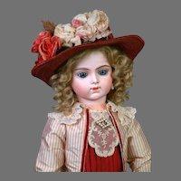 "Gorgeous 27"" Bru Jeune R 12 French Bebe in Maroon Silk Frock"