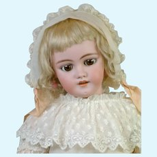 """Lovely 25.5"""" Simon & Halbig 1039 in Antique White Gown"""