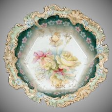 Fabulous Hand Painted R.S. Prussia Unmarked  RARE Floral Plate Gold Detail