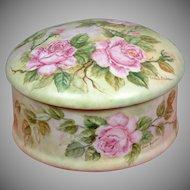 Extra Large Limoges Floral Dresser Powder Box Signed By Limoges Artist Elsie Behar