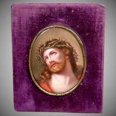 Superb Large Hand Painted Devotional Porcelain Passion of Christ KPM Quality
