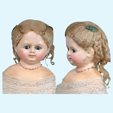"""27"""" 1870 German Wax Over Young Lady With Textured Skin Sleep Eyes Museum Quality All Original Braided Updo!"""