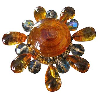 Fabulous Unsigned Vintage French Poured Gripoix Glass Brooch by Dominique Aurientis