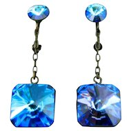 VIntage Heliotrope Rhinestone Earrings