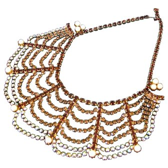 Fabulous Huge Vintage Rhinestone Festoon Necklace
