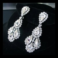Elegant Vintage Trifari Rhinestone Earrings
