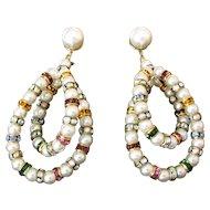 Elegant Vintage Rhinestone Rondelle and Faux Pearl Earrings