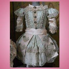 ~~~ Superb Childlike French BeBe Silk Dress with Bonnet ~~~