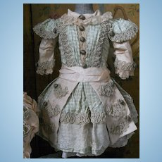 ~~~ Superb Childlike French BeBe Silk Dress with Bonnet ~~~