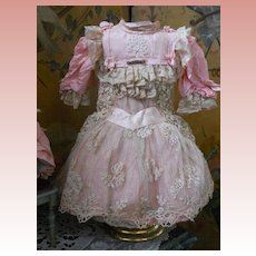 ~~~ Wonderful French Pink BeBe Costume with Bonnet ~~~