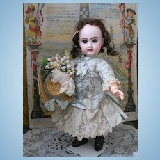 ~~~RESERVED FOR M. ~~~Marvelous  French Silk Sateen BeBe Costume with Bonnet~~~