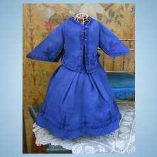 ~~~ Nice Blue Silk Poupee Gown at 19th. century ~~~