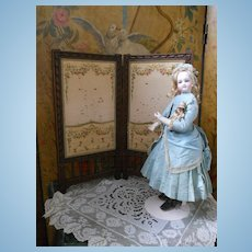 ~~~RESERVED for L. ~~~ Superb 19th. century Folding screen for French Poupee ~~~