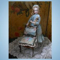 ~~~ Very 19th. Century Doll Chair for Poupee or Bebe ~~~