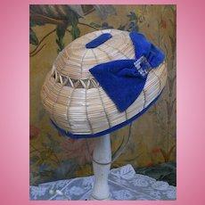 ~~~ Pretty 19th. century Bamboo Bourrelet Cap ~~~