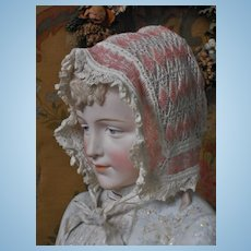 ~~~Wonderful early Hand-Knitted Doll Bonnet with Glass-Pearls