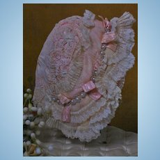 ~~~ Marvelous French Silk and Lace Bonnet / 1880 ~~~