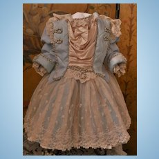 ~~~Pretty Silk and Velvet French BeBe Costume with Bonnet ~~~