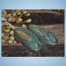 ~~~ Rare early French Poupee Leather Slippers 1860 era . ~~~