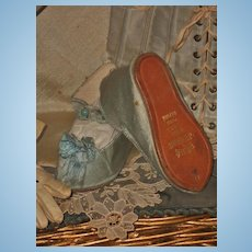 ~~~ Rare Jumeau Couturier Silk Slippers with Gilt Lettering ~~~