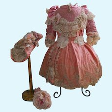 ~~~ Beautiful French Pink Silk Costume with Straw Hat ~~~