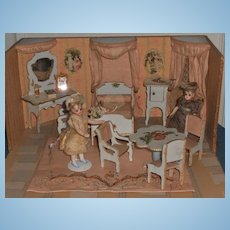 ~~~RESERVED //  Miniature Doll House Chambre in Original Presentation Room-Box ~~~