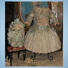 ~~~ Marvelous French Aqua Blue Silk Costume with Bonnet ~~~