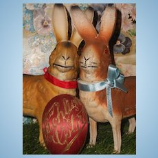 ~~~ Fine German Papier Mache Candy Container Bunny ~~~